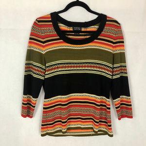 Andrea Jovine Multicolored Stripe Knit Top, L